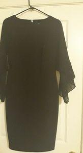 Black Elegant ruffle sleeves dress
